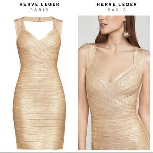 Herve Leger Gold Iman Bandage Dress Size Small